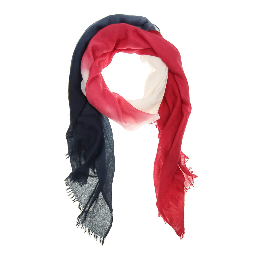 Red Ombré Hand Woven Cashmere Wool Scarf, Scarves - Loveknitz