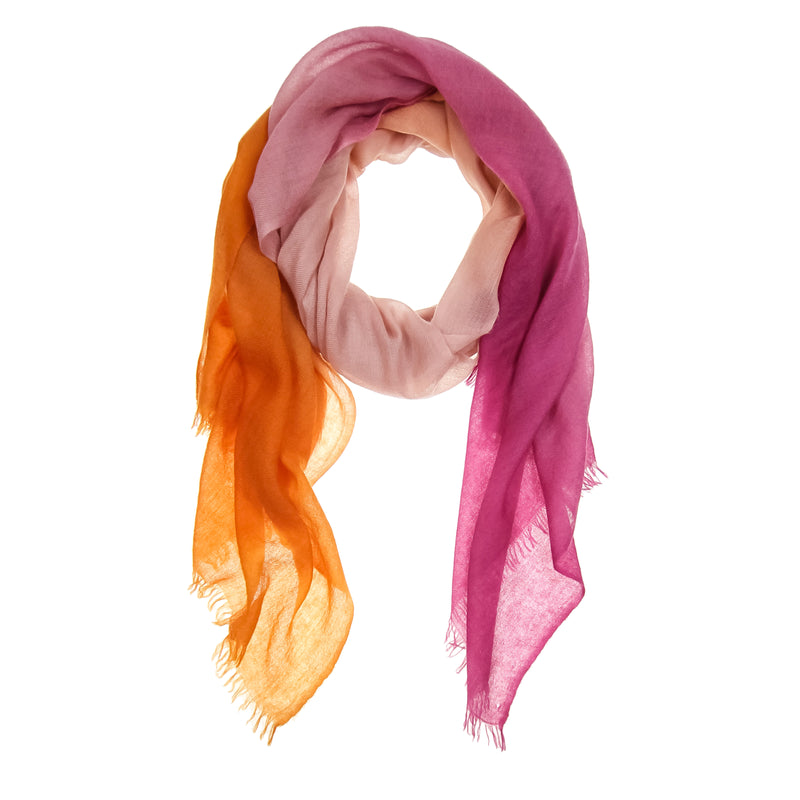 Pink Ombré Hand Woven Cashmere Wool Scarf, Scarves - Loveknitz