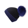 Pearl Stitched Blue Ombré Cashmere Hat with Electric Blue Pom-Pom, Hat with Pom - Loveknitz