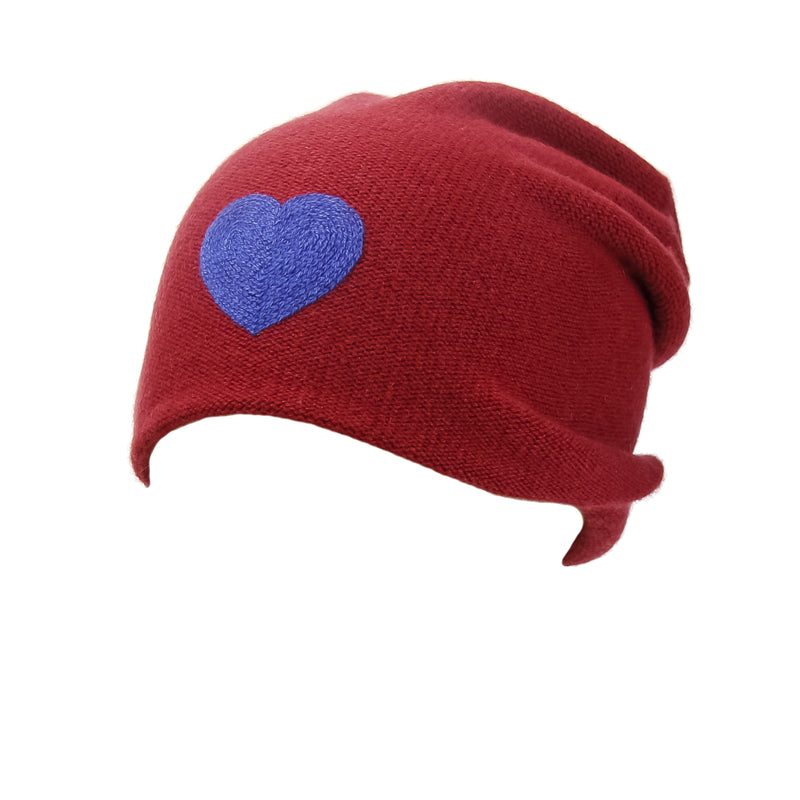 Reversible Slouchy Red Cashmere Hat with Blue Heart and Electric Blue Pom-Pom, Hat - Loveknitz