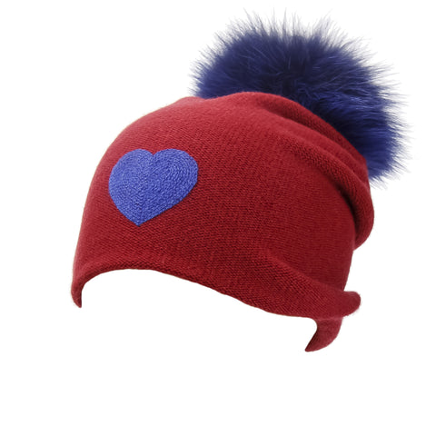 Reversible Slouchy Blue and Red Striped Cashmere Hat with Electric Blue Pom-Pom