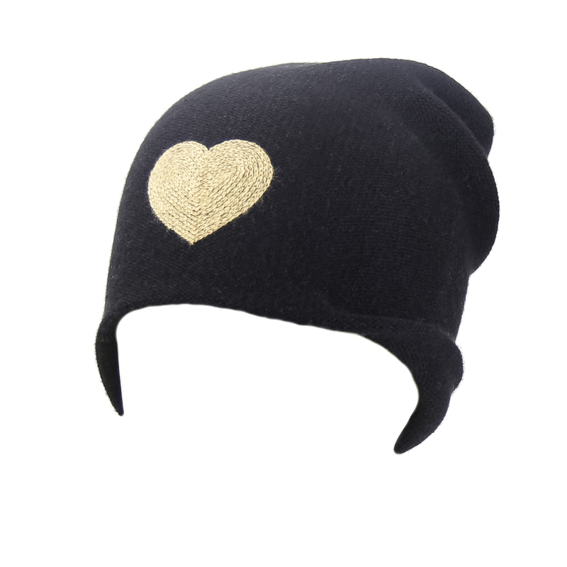 Reversible Slouchy Black Cashmere Hat with Gold Heart and Light Caramel Pom-Pom, Hat - Loveknitz