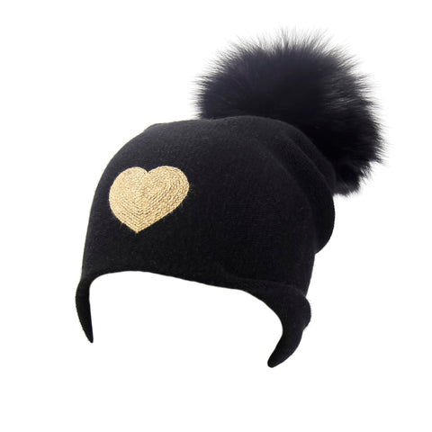Reversible Slouchy Black Cashmere Hat with White Heart and Black Pom-Pom