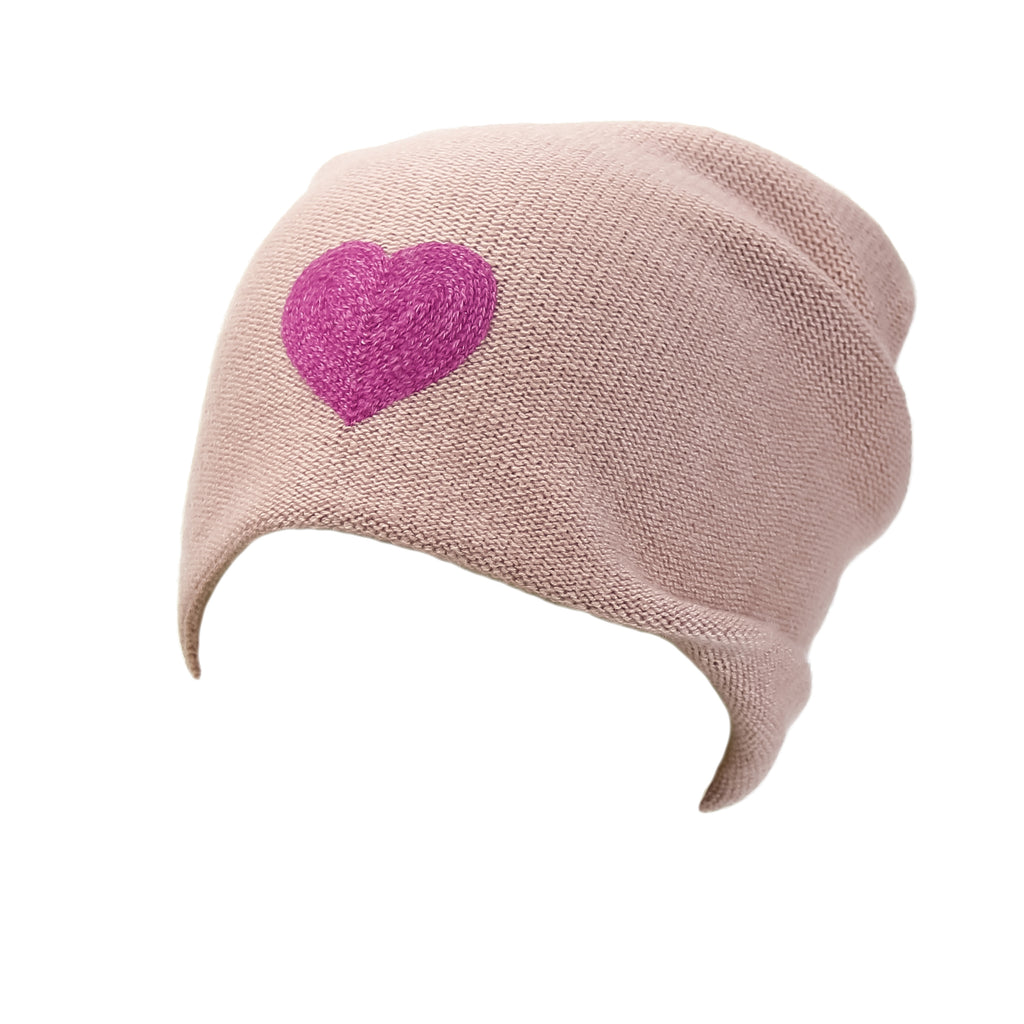Reversible Slouchy Rose Cashmere Hat with Pink Heart, Hat - Loveknitz