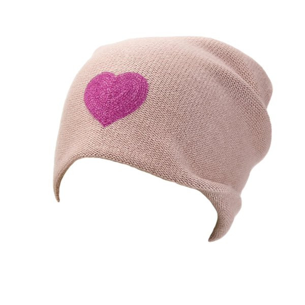 Reversible Slouchy Rose Cashmere Hat With Pink Heart And