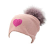 Reversible Slouchy Black Cashmere Hat with Lilac Pom-Pom