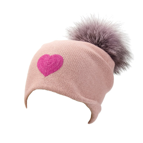 Reversible Slouchy Rose Cashmere Hat with Pink Heart and Fancy Lilac Pom-Pom