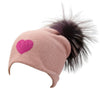 Reversible Slouchy Rose Cashmere Hat with Pink Heart and Lilac Pom-Pom
