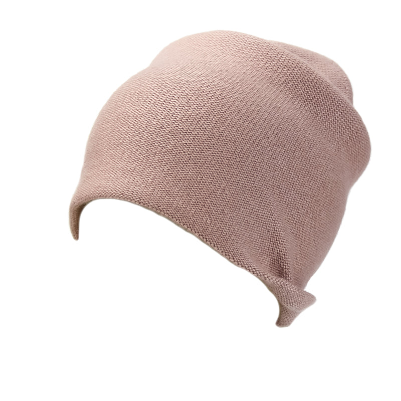 Reversible Slouchy Rose Cashmere Hat with Pink Heart and Lilac Pom-Pom, Hat - Loveknitz