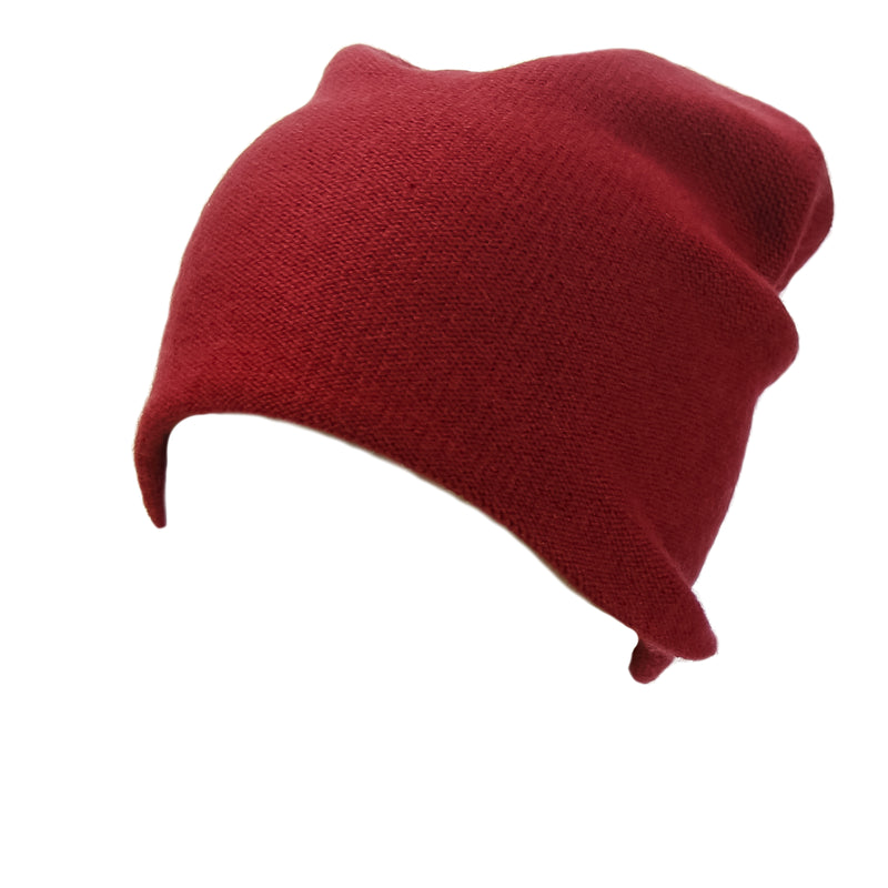 Reversible Slouchy Red Cashmere Hat with Blue Heart, Hat - Loveknitz
