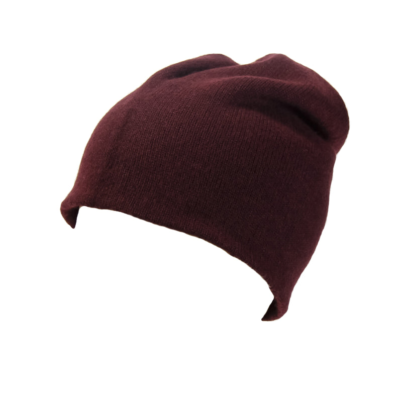 Reversible Slouchy Burgundy and Lilac Striped Cashmere Hat, Hat - Loveknitz