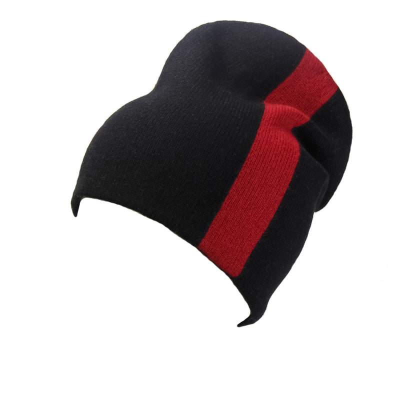 Reversible Slouchy Black and Red Striped Cashmere Hat with Black Pom-Pom, Hat - Loveknitz