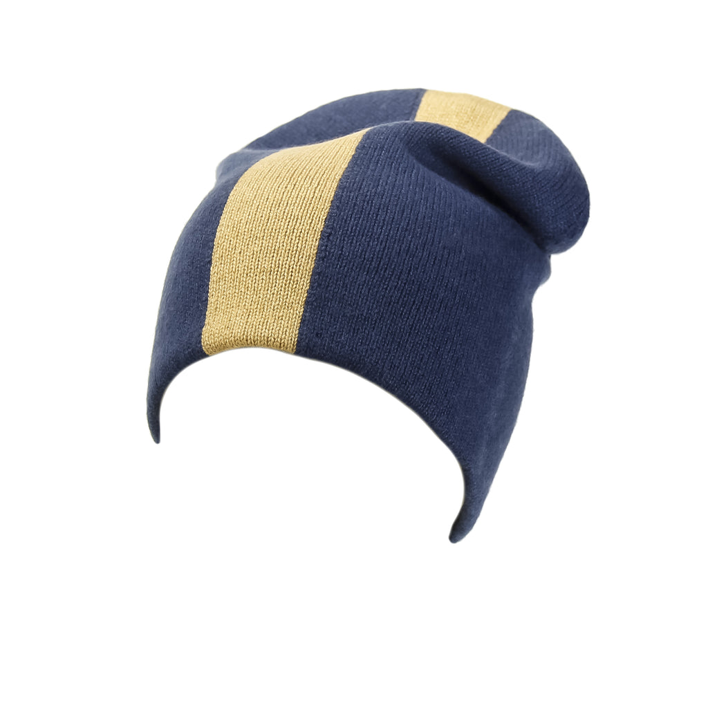 Reversible Slouchy Blue and Gold Striped Cashmere Hat, Hat - Loveknitz
