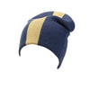 Reversible Slouchy Blue and Gold Striped Cashmere Hat with Light Caramel Pom-Pom, Hat - Loveknitz