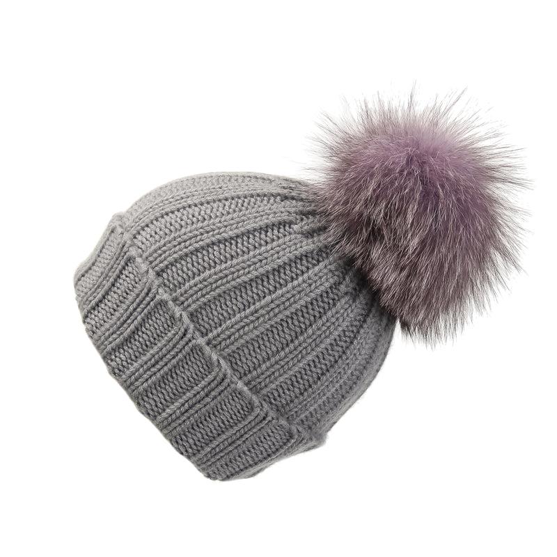 Fold-Over Grey Cashmere Hat with Lilac Pom-Pom, Hat with Pom - Loveknitz