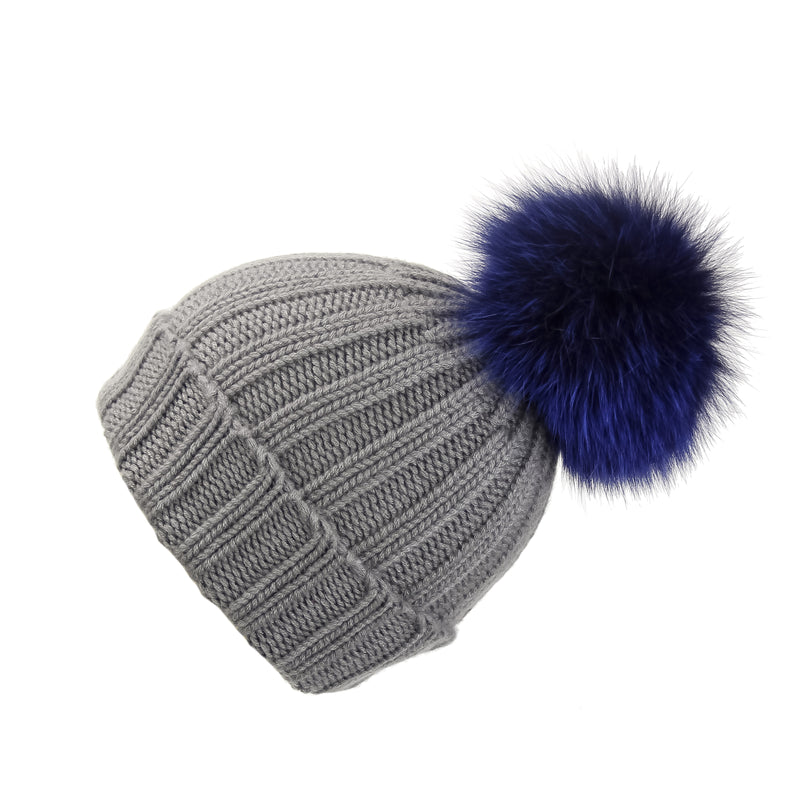 Fold-Over Grey Cashmere Hat with Electric Blue Pom-Pom, Hat with Pom - Loveknitz