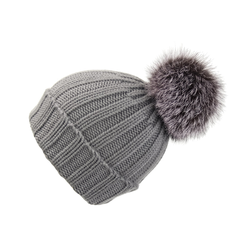 Fold-Over Grey Cashmere Hat with Dark Lilac Pom-Pom, Hat with Pom - Loveknitz