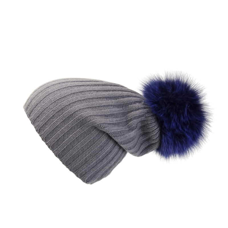 Ribbed Grey Cashmere Hat with Electric Blue Pom-Pom, Hat with Pom - Loveknitz
