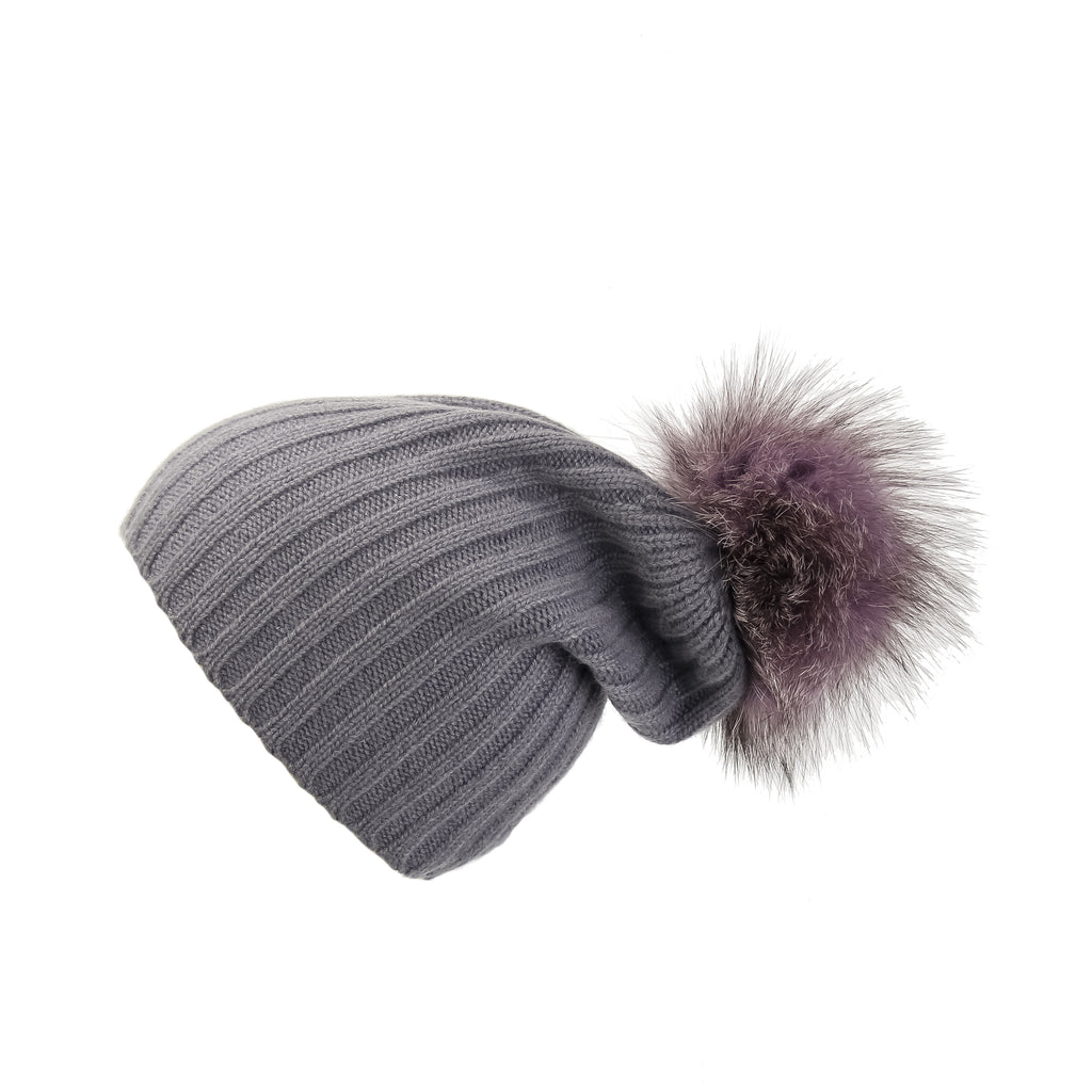 Ribbed Grey Cashmere Hat with Lilac Pom-Pom, Hat with Pom - Loveknitz