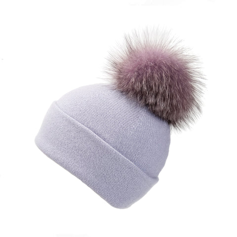 Fold-Over Grey Cashmere Hat with Fancy Lilac Pom-Pom