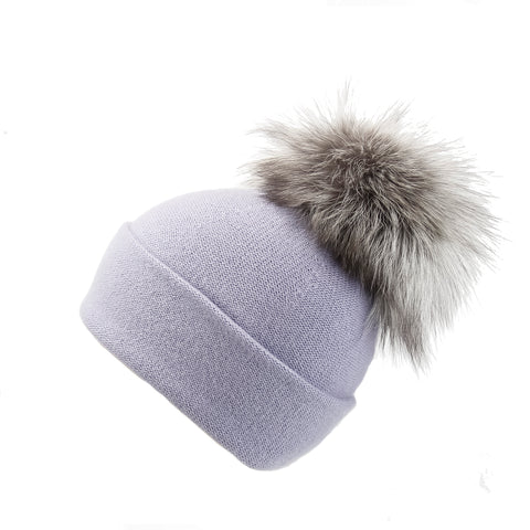 Reversible Slouchy Lilac Cashmere Hat with Fancy Lilac Pom-Pom
