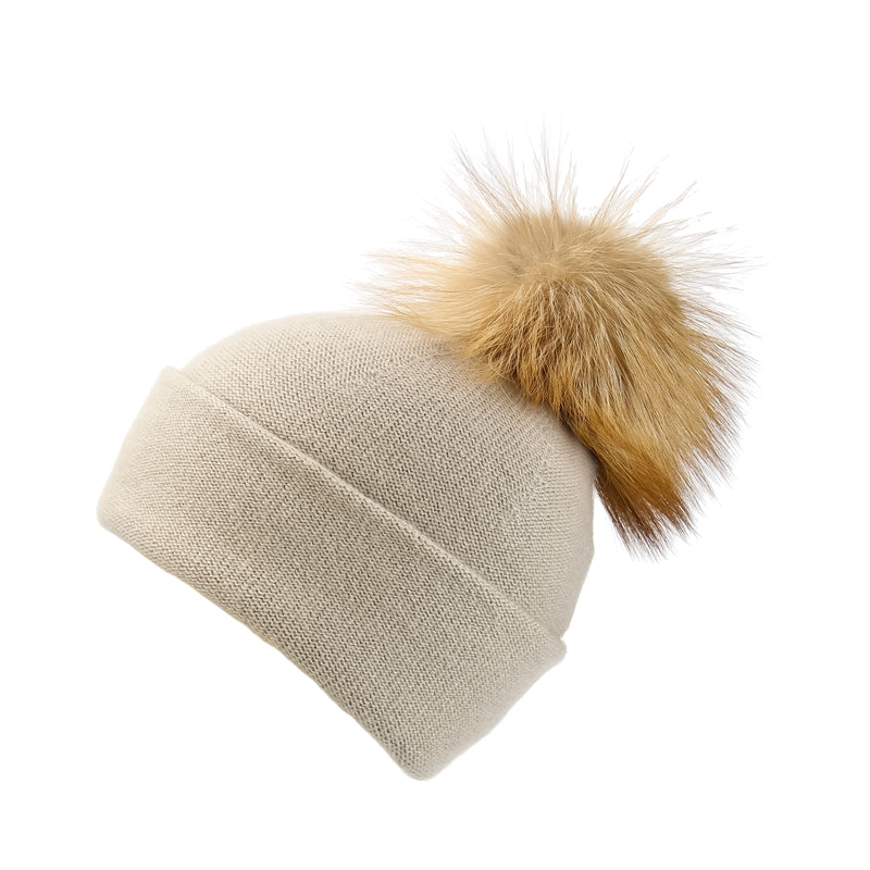 Reversible Slouchy Sand Cashmere Hat with Light Caramel Pom-Pom, Hat with Pom - Loveknitz