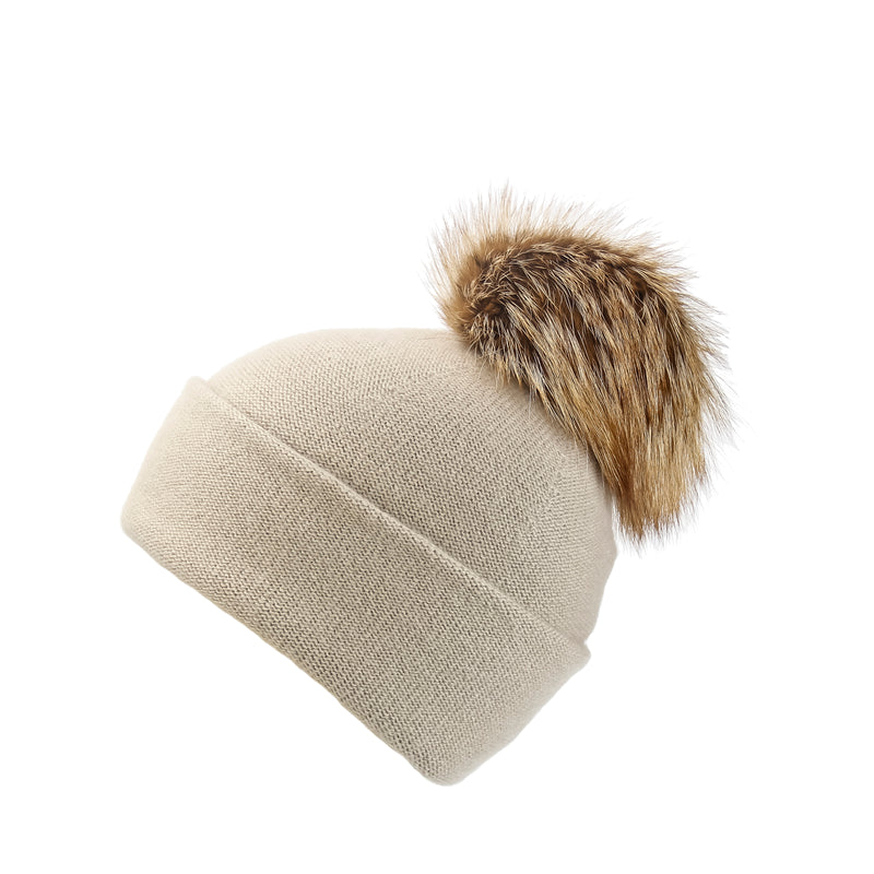 Reversible Slouchy Sand Cashmere Hat with Caramel Pom-Pom, Hat with Pom - Loveknitz