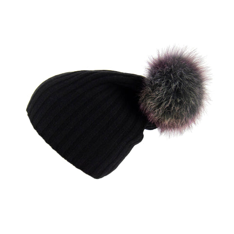 Ribbed Black Cashmere Hat with Light Grey Pom-Pom