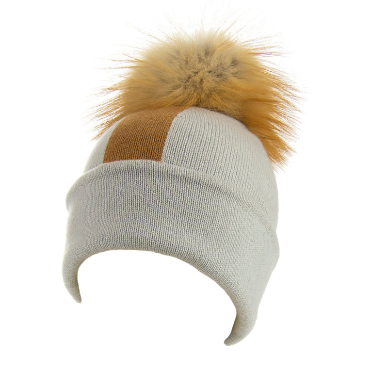 Reversible Slouchy Grey & Caramel Striped Cashmere Hat with Light Caramel Pom-Pom, Hat - Loveknitz