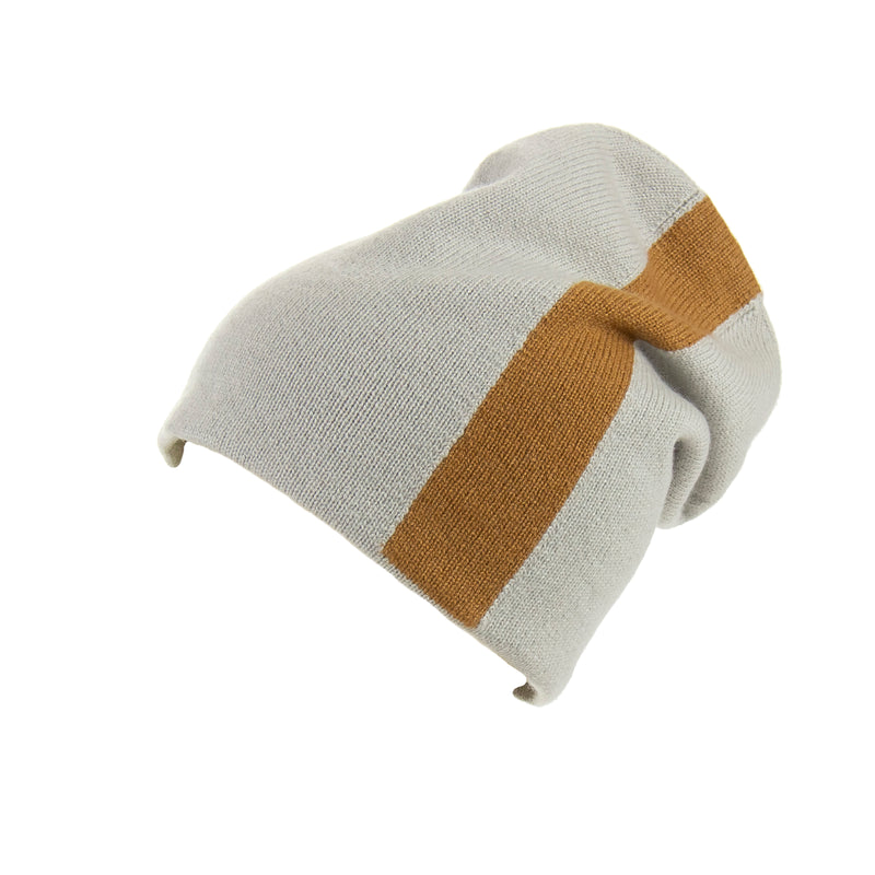 Reversible Slouchy Grey & Caramel Striped Cashmere Hat, Hat - Loveknitz