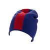 Reversible Slouchy Blue and Red Striped Cashmere Hat with Electric Blue Pom-Pom, Hat - Loveknitz