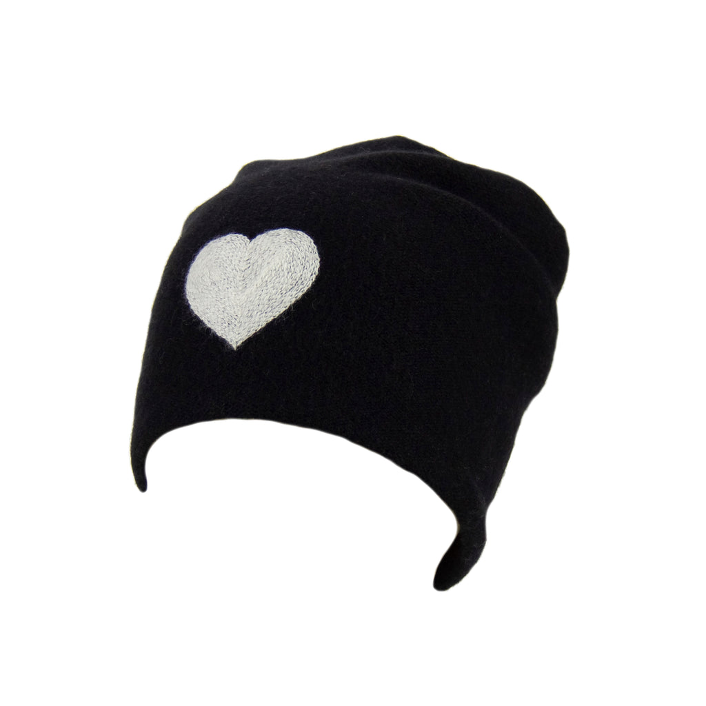 Reversible Slouchy Black Cashmere Hat with White Heart, Hat - Loveknitz