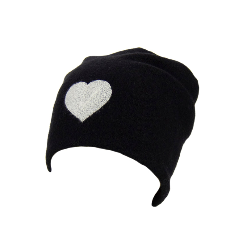 Reversible Slouchy Black Cashmere Hat with White Heart and White Pom-Pom, Hat - Loveknitz