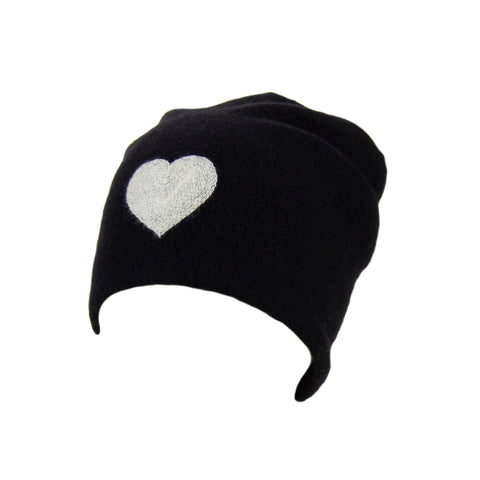 Reversible Slouchy Black Cashmere Hat with Gold Heart