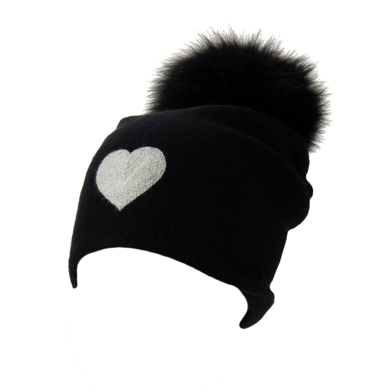 Reversible Slouchy Black Cashmere Hat with White Heart and Black Pom-Pom, Hat - Loveknitz