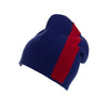 Reversible Slouchy Blue and Red Striped Cashmere Hat, Hat - Loveknitz