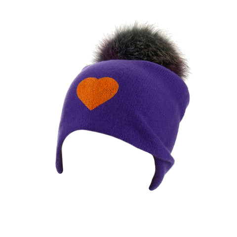 Reversible Slouchy Red Cashmere Hat with Blue Heart and Electric Blue Pom-Pom