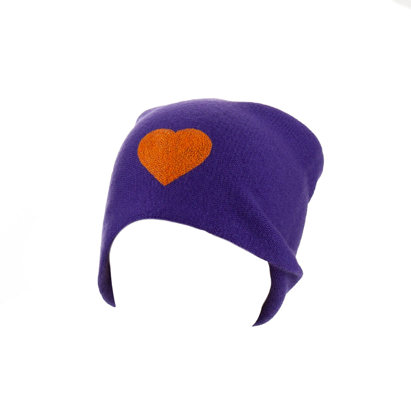 Reversible Slouchy Purple Cashmere Hat with Orange Heart and Rainbow Pom, Hat - Loveknitz