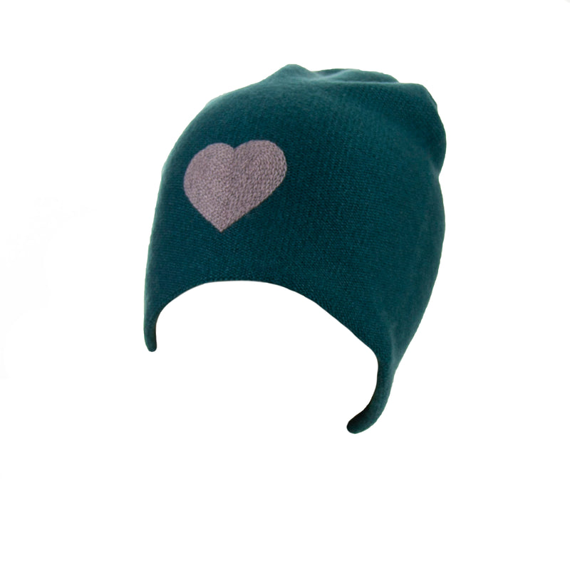 Reversible Slouchy Teal Cashmere Hat with Lilac Heart, Hat - Loveknitz
