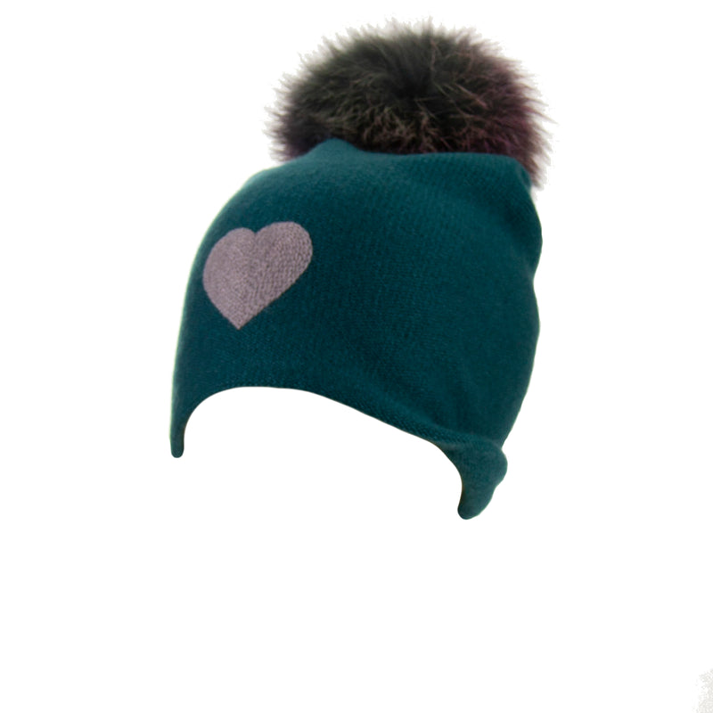 Reversible Slouchy Teal Cashmere Hat with Lilac Heart and Rainbow Pom, Hat - Loveknitz