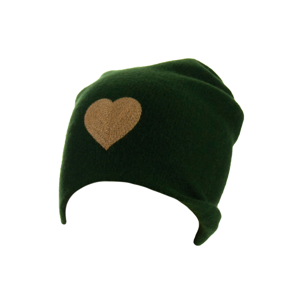 Reversible Slouchy Green Cashmere Hat with Gold Heart, Hat - Loveknitz