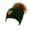 Reversible Slouchy Green Cashmere Hat with Gold Heart and Light Caramel Pom-Pom, Hat - Loveknitz