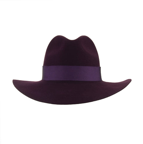 Aubergine Wool Fedora with Fancy Lilac Pom-Pom
