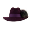 Aubergine Wool Fedora with Dark Lilac Pom-Pom