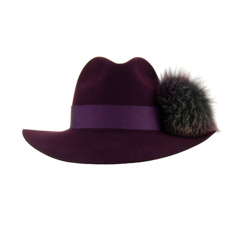 Aubergine Wool Fedora with Rainbow Pom-Pom,  - Loveknitz