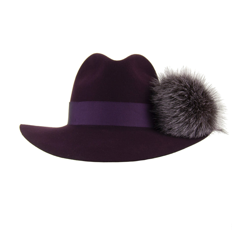Aubergine Wool Fedora with Dark Lilac Pom-Pom,  - Loveknitz