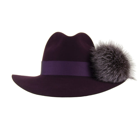 Aubergine Wool Fedora with Rainbow Pom-Pom