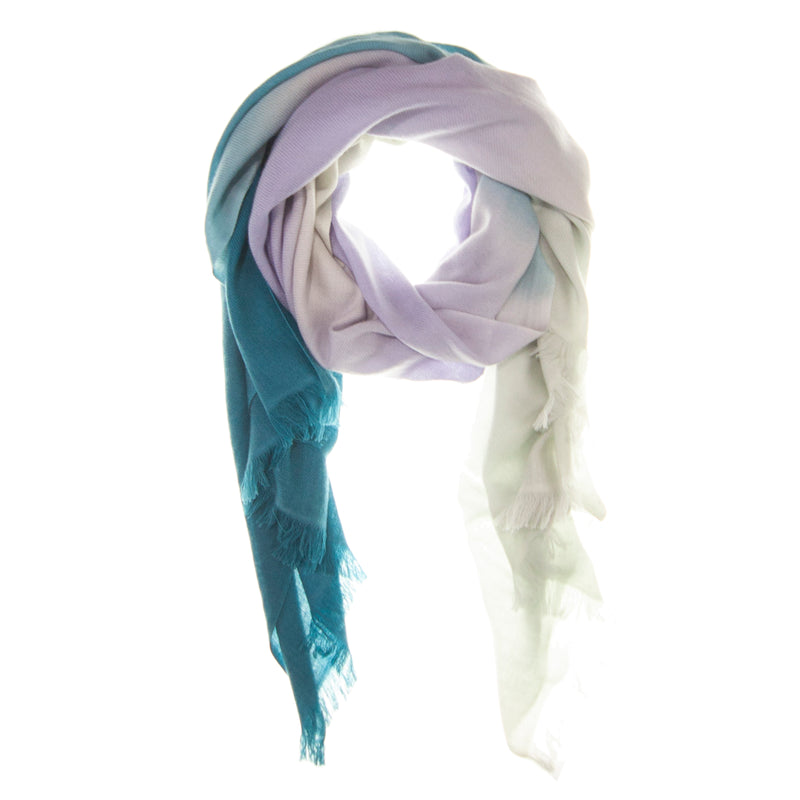 Teal Ombré Hand Woven Winter Cashmere Scarf, Scarves - Loveknitz