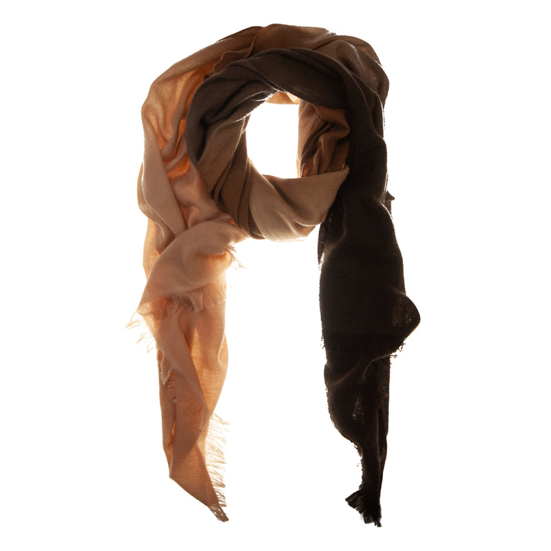 Brown Ombré Hand Woven Winter Cashmere Scarf, Scarves - Loveknitz
