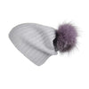 Ribbed Purple Cashmere Hat with Fancy Lilac Pom-Pom